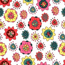 Free Seamless Pattern With Abstract Flowers Stock Image - 35532011