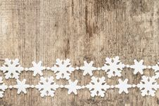 Free Christmas Decoration. Snowflakes On Wood Royalty Free Stock Photography - 35532547