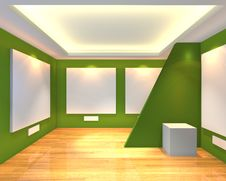 Free Empty Room Green Gallery Stock Photos - 35536303
