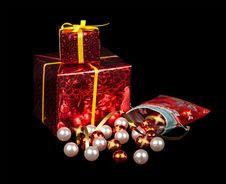 Christmas Balls And Gifts Royalty Free Stock Photos