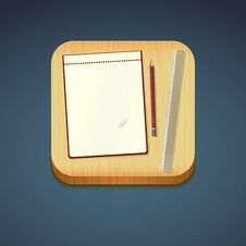 Free Mobile App Icon - Pencil, Wood Board, Notebook Stock Image - 35538931