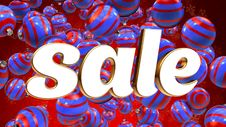 Sale On Red Background With Blue Christmas Ornaments Stock Photo