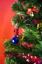 Free Blue Christmas Ball On Tree On Red Background Royalty Free Stock Photos - 35543898