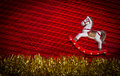 Free Rocking-horse Over Christmas Decoration Background Royalty Free Stock Photos - 35543988