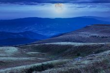 Moonlight On Stone Mountain Slope With Forest Stock Images