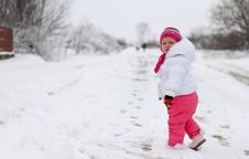 Free Baby Girl In Wintertime Stock Photo - 35547230