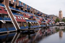 Free Dutch Houses Reflection On Water Stock Images - 35549584