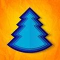 Free Blue Paper Christmas Tree On Orange Background Stock Image - 35550851