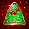Free Vector Glass Christmas Tree With Ball And Royalty Free Stock Photos - 35559028
