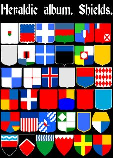 Free Heraldic Album. Shields. &x28;Vector&x29;  Page 1 Royalty Free Stock Photo - 35550445