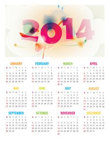 Free 2014 Calendar Royalty Free Stock Images - 35554649