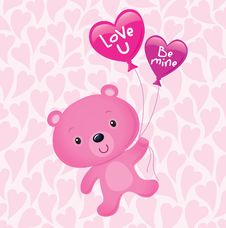 Free Pink Valentine S Bear With Balloons Stock Photo - 35557630