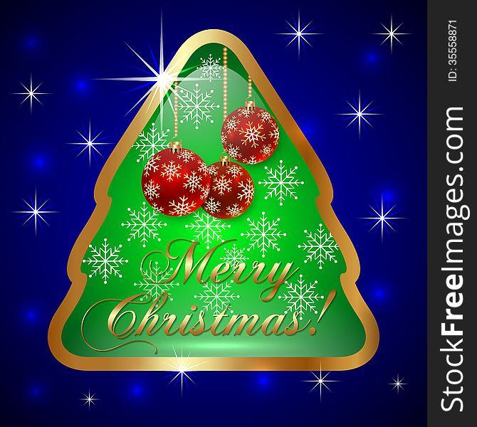 Vector Glass Christmas Tree with Ball and