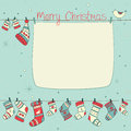 Free Christmas Card With Birds, Socks, Mittens And Hats Stock Photos - 35562753