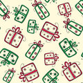 Free Seamless Pattern With Christmas Red And Green Gift Royalty Free Stock Image - 35563156