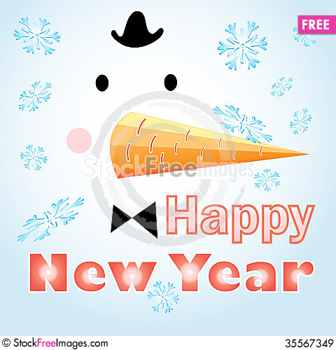 Free New Years Card With A Snowman Royalty Free Stock Images - 35567349