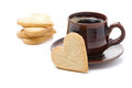 Free Cup Of Black Coffee And Cookies In The Shape Of Heart, Isolated Royalty Free Stock Photos - 35573078