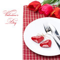 Free Festive Table Setting For Valentine&x27;s Day With Tulips, Close-up Royalty Free Stock Photos - 35573518