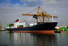 Container Ship Docked Stock Photo