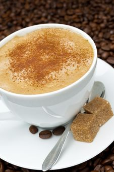 Free Cup Of Cappuccino With Brown Sugar Stock Photos - 35573183