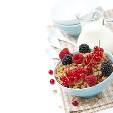 Free Delicious Homemade Granola With Fresh Berries And Milk, Isolated Royalty Free Stock Photos - 35573448