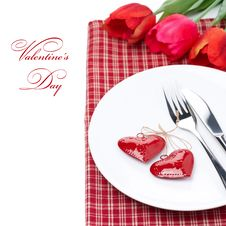 Free Festive Table Setting For Valentine S Day With Tulips, Close-up Royalty Free Stock Photos - 35573518