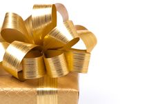 Free Part Of The Golden Gift Box, Close-up, Selective Focus, Isolated Stock Photo - 35573850