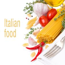 Free Pasta And Ingredients, Isolated On White Royalty Free Stock Image - 35573876