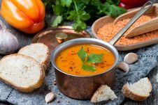 Red Lentil Soup With Pepper And Spices Royalty Free Stock Photography