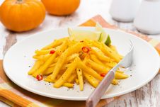 Salad Of Roasted Pumpkin With Lime And Chilli Stock Photography