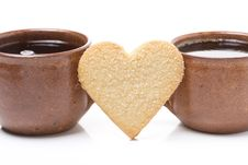 Two Cups Of Coffee And Cookies In The Shape Of Hearts Stock Photo