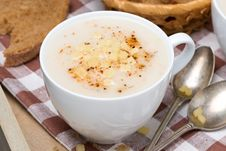Free Delicious Cream Soup Of Cauliflower With Cheese And Pepper Royalty Free Stock Photo - 35574425