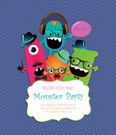 Monster Party Card Design. Vector Illustration Stock Images