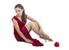 Free Beautiful Woman Sitting On The Floor Royalty Free Stock Photos - 35577928