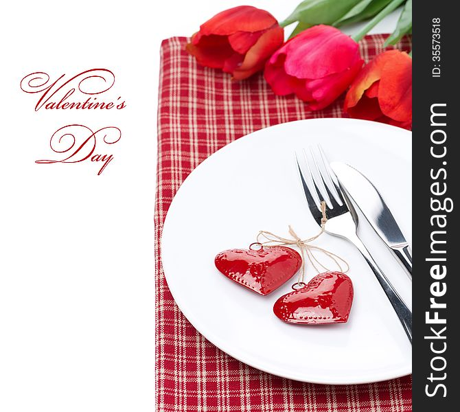 Festive table setting for Valentine s Day with tulips, close-up