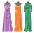 Free Set Of Three Long Evening Elegant Silk Dresses. Royalty Free Stock Photo - 35582055
