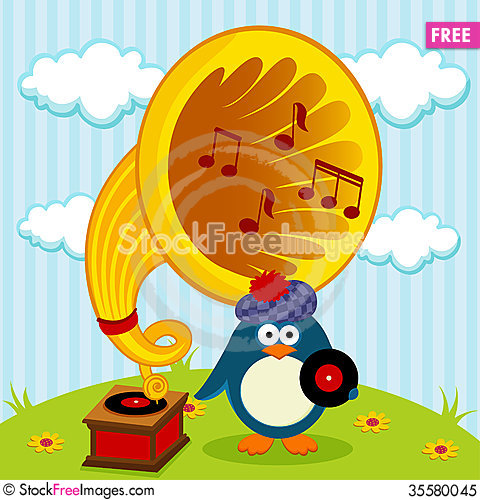Free Penguin With A Gramophone Royalty Free Stock Photo - 35580045