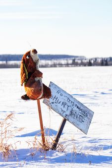 A Stuffed Rabbit Beside A No Hunting Sign Stock Photography