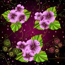 Free Seamless Floral Dark Pattern Royalty Free Stock Photography - 35589607