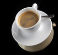 Free Cup Of Coffee On The Black Stock Photos - 35590513