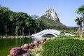 Free Chinese Garden Wiht Arch Bridge Royalty Free Stock Photos - 35593488