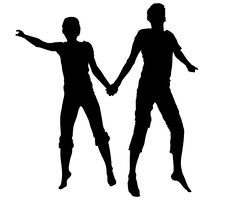 Jumping Couple Silhouette Stock Photography