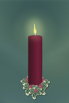 Free Single Red Christmas Candle Stock Photo - 3561270