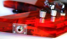 Input For Red Acrylic Guitar Stock Photo