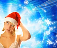 Free Girl In Christmas Hat Stock Image - 3562361