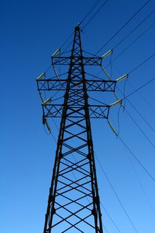 Free Power Line Isolated On Blue Stock Images - 3564144