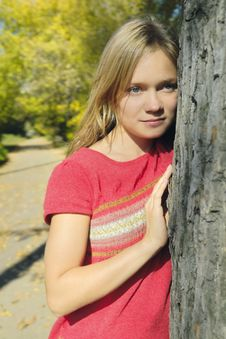 Free Blond Girl In The Autumn Park Stock Image - 3566191