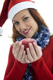 Free Beautiful Woman With Apple Stock Image - 3567271