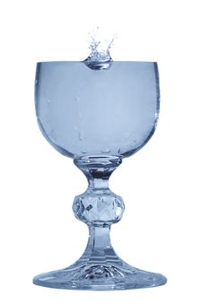 Blue Glass With Water Stock Photography