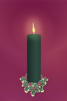 Free Single Green Christmas Candle Stock Photos - 3569293